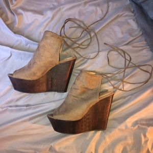 Charlotte Russe Tan Tie-Up Wedges